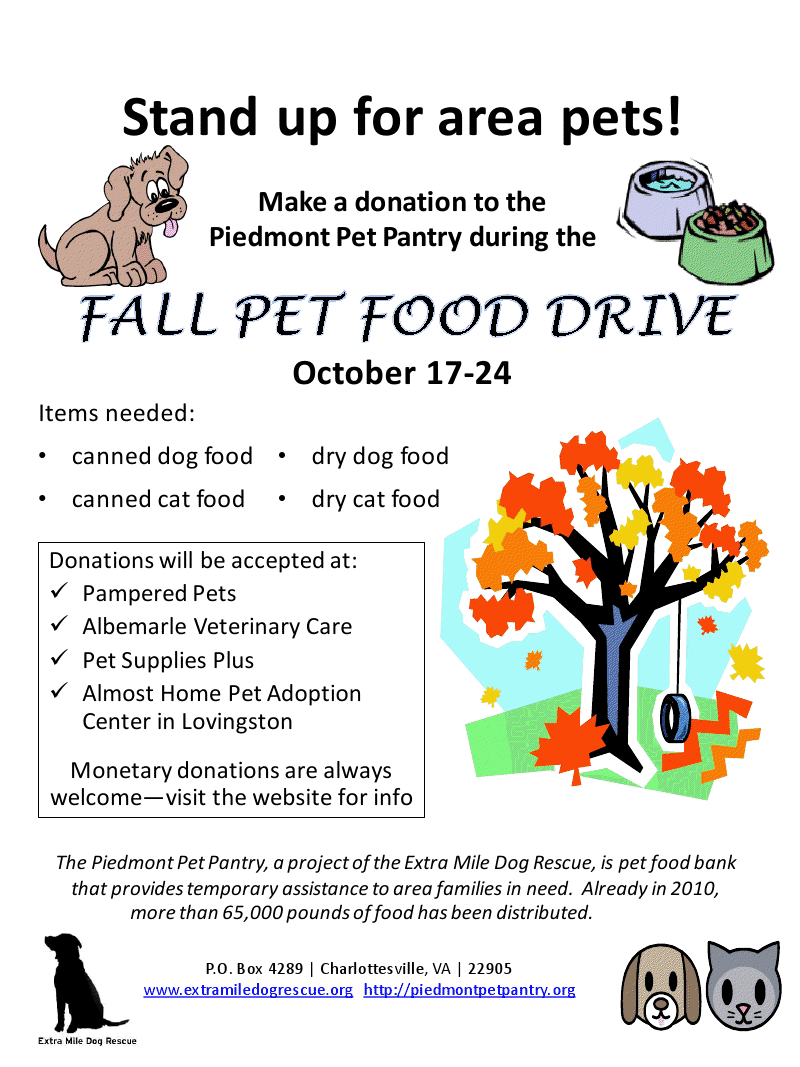 Extra Mile Dog Rescue Piedmont Pet Pantry Food Drive Poster