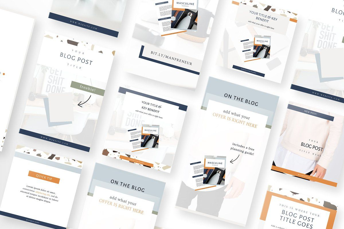 Masculine Canva Course Templates In