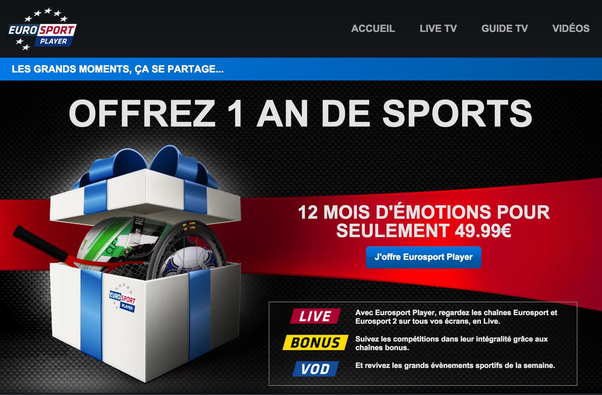 """Opération promotionnelle """"Offrir le Player"""" pour Eurosport"""