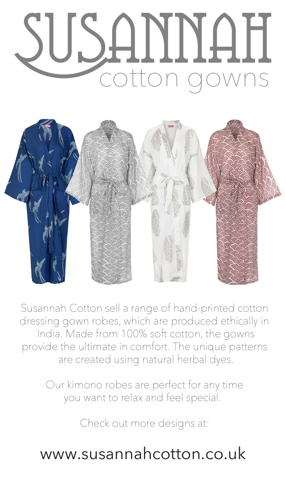 Susannah Cotton Kimono Dressing Gown Robes. Made from 100% organic ...