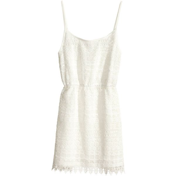 H&M Lace dress ($7.47) ❤ liked on Polyvore featuring dresses, vestidos, h&m, robes, white, lace dress, short dresses, mini dress, lace mini dress and short white dresses