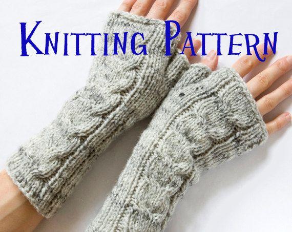 Instant Télécharger PDF Knitting Pattern - câblé mitaines sans doigts, câblés des gants, mitaines