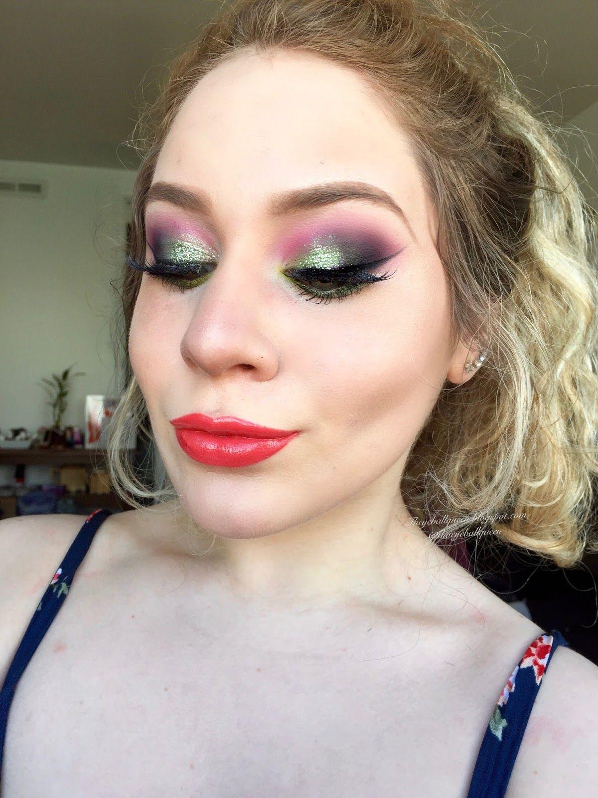 Tropical Mint Glitter Vibrant Smokey Eye Makeup Tutorial