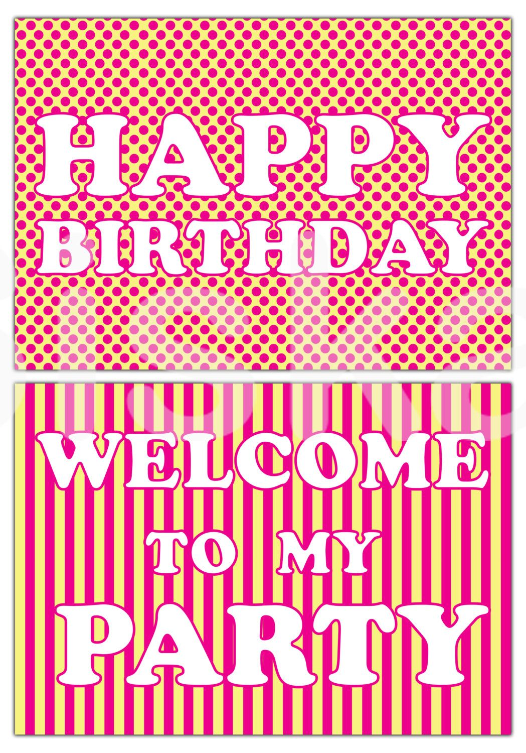 party WELCOME SIGNS Printable | Yellow & Pink Party Decorations | Instant Download | Siskale (0.94 USD) by Siskale