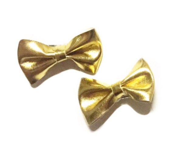 Gold Bow Hairclips Pigtail Hair Clips Baby