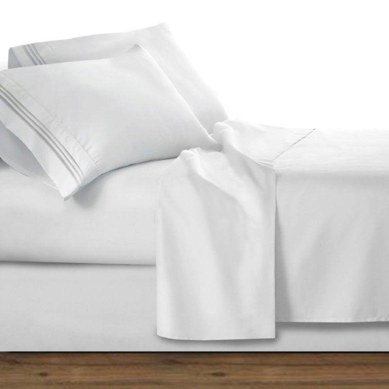 Amazon Com Clara Clark 1800 Premier Series 4pc Bed Sheet Set King White Home Kitchen Giftryapp Bed