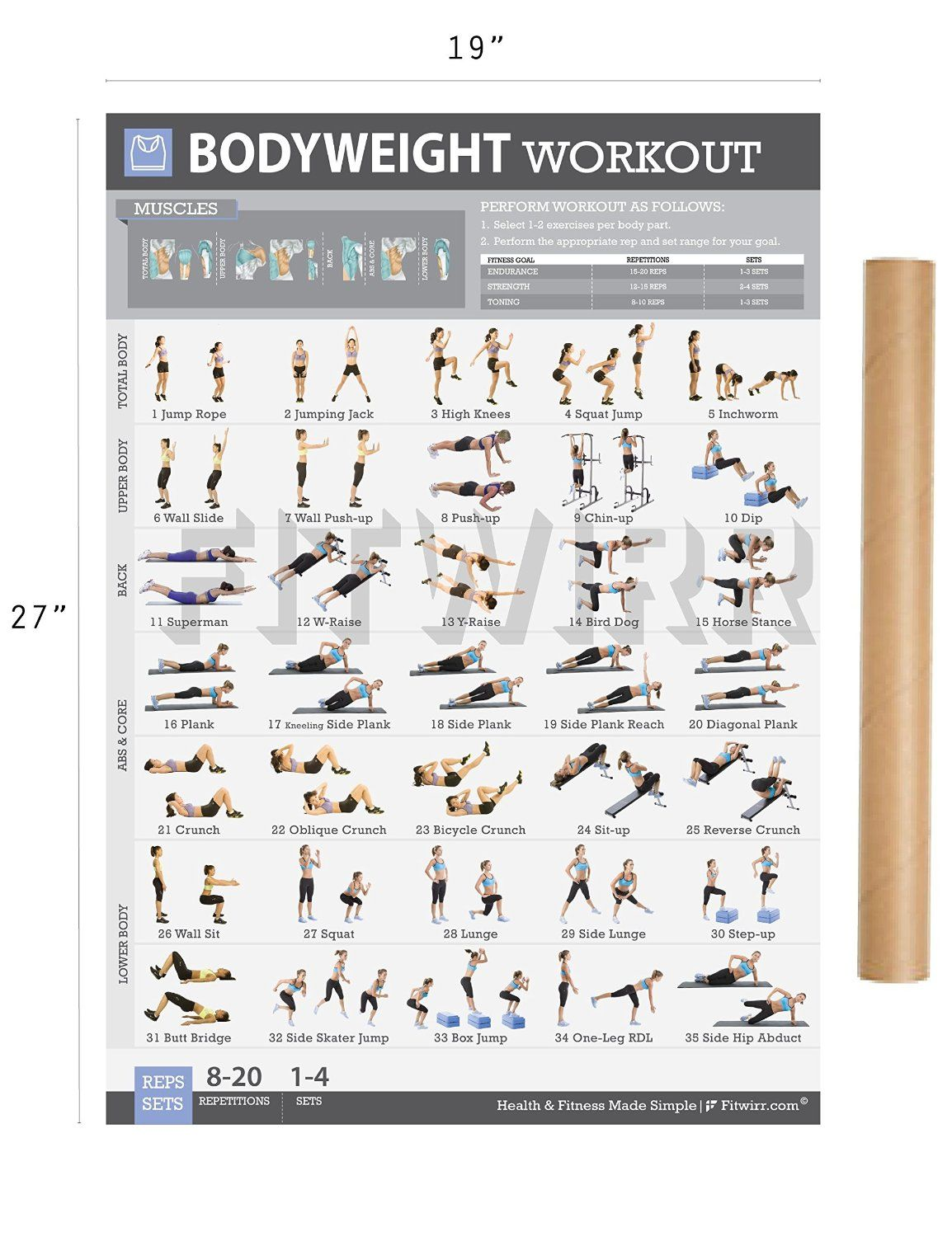 Bodyweight Exercise Poster Now Laminated Personal