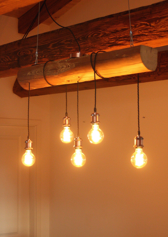 Vintage Holzbalkenlampe Hängelampe Wohnzimmerlampe LED-Lampe