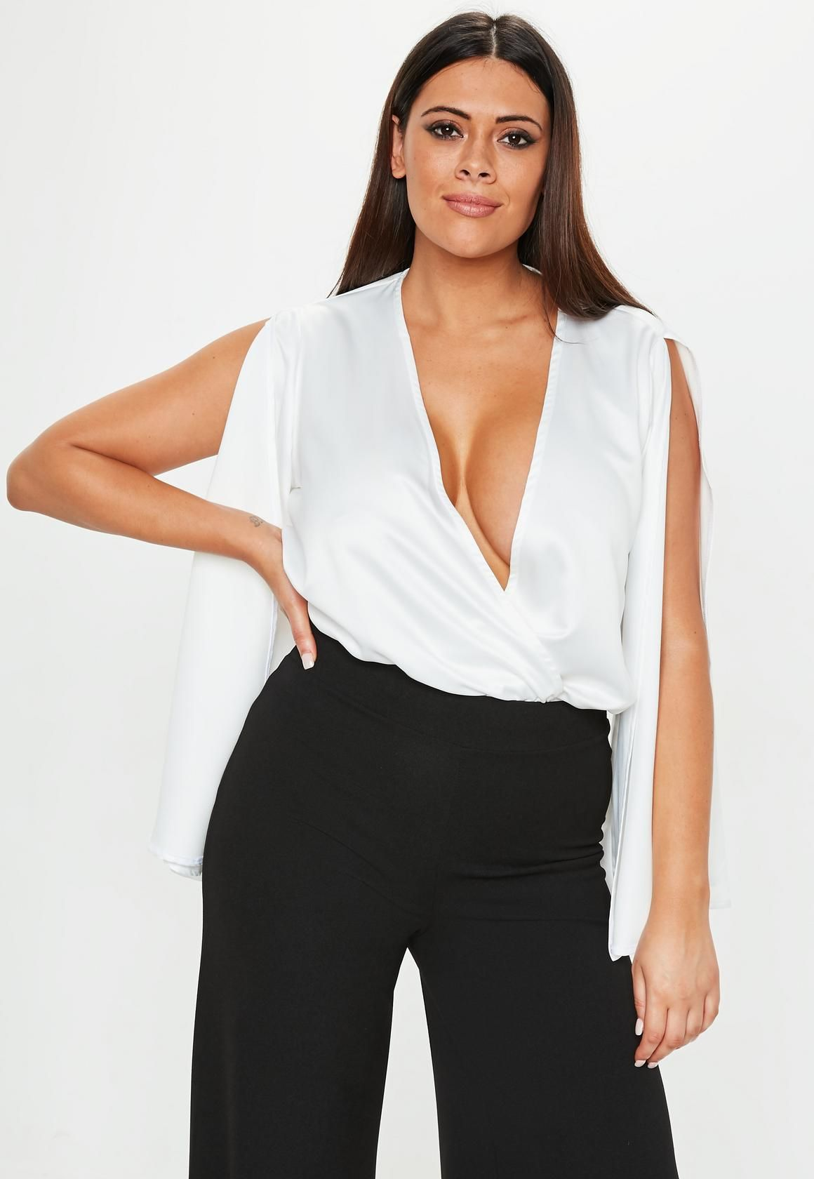 Plus Size White Pleat Front Bodysuit | Clothing | Plus size ...