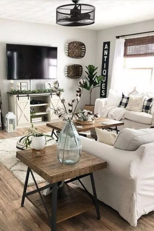 Diy Farmhouse Living Room Decor Ideas In 2020 Farmhouse Decor Living Room Farm House Living Room Apartment Living Room