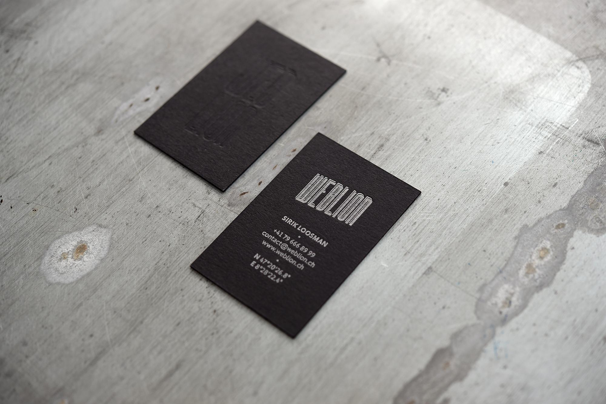Drucktechnik Letterpress Blindprägung Papier Colorplan ebony