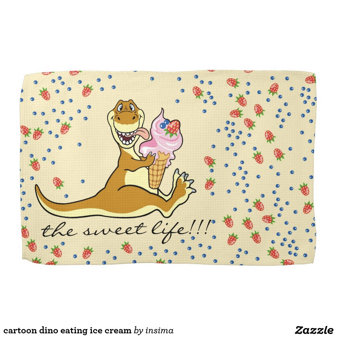 Cartoon Dino Eating Ice Cream Towel Zazzle Com With Images