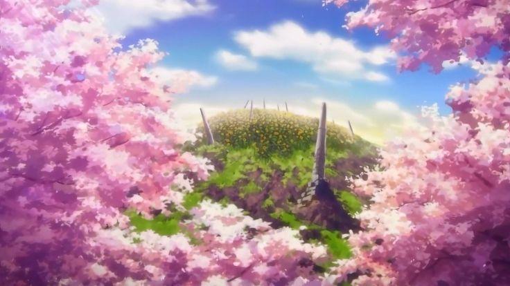Clouds Cherry Blossoms Hills Anime Cherry Tree Sun Rays Sun Flower Anime Scenery Anime Cherry Blossom Anime Scenery Wallpaper