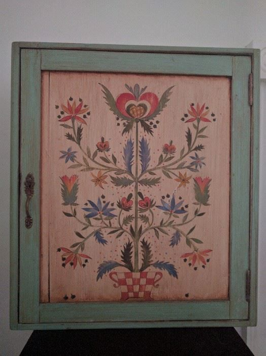 Found on EstateSales.NET: Very nice hanging cabinet, hand painted by known Philadelphia artist.