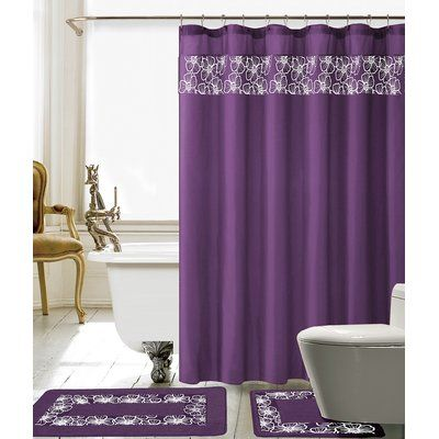 Red Barrel Studio Wellow Shower Curtain Set Colour Purple White