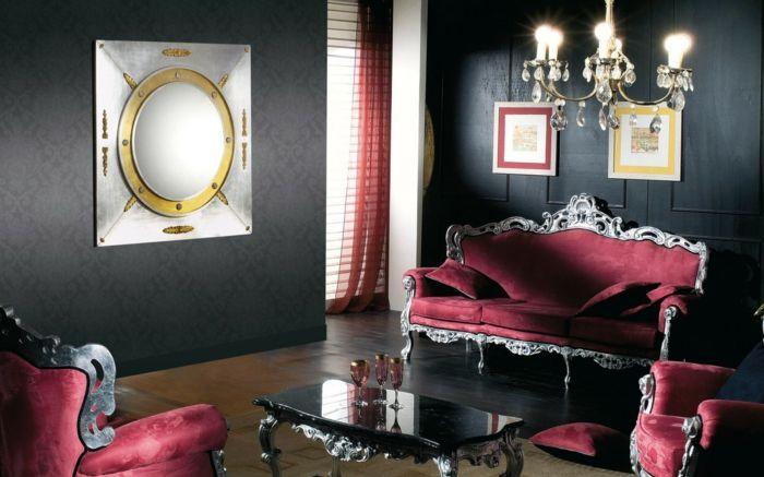 Schwarze Wandfarbe Wohnzimmer Luxurise Rote Sofas Eleganter Couchtisch Leuchter