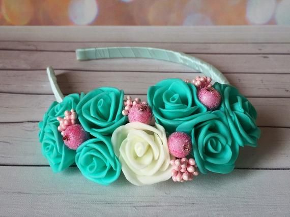 Turquoise Flower Crown Flower Headband Girl Turquoise Hair Accessories  Flower Rose Wreath Flower Hea f00706ad869