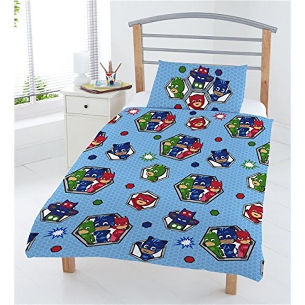 Pj Masks Badges Junior Duvet Set Polyester Cotton Blue Full