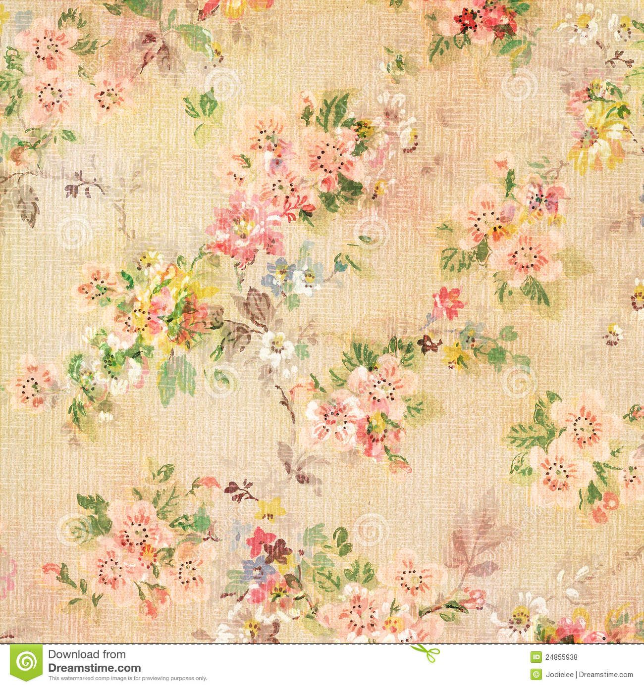 Shabby Chic Vintage Antique Rose Floral Wallpaper Royalty ...