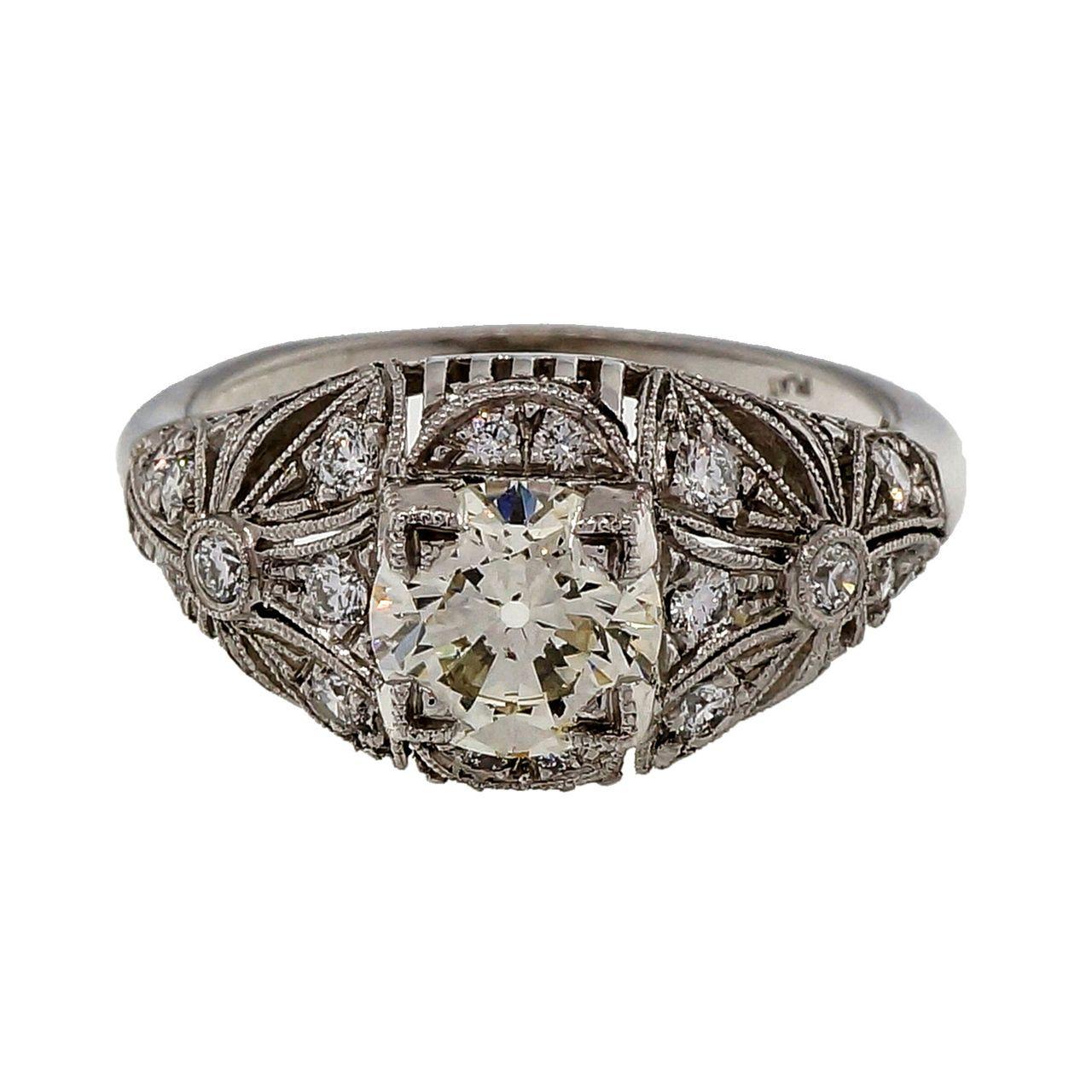 Antique Edwardian Art Deco 1.03ct Transitional Cut Platinum Diamond Ring - petersuchyjewelers