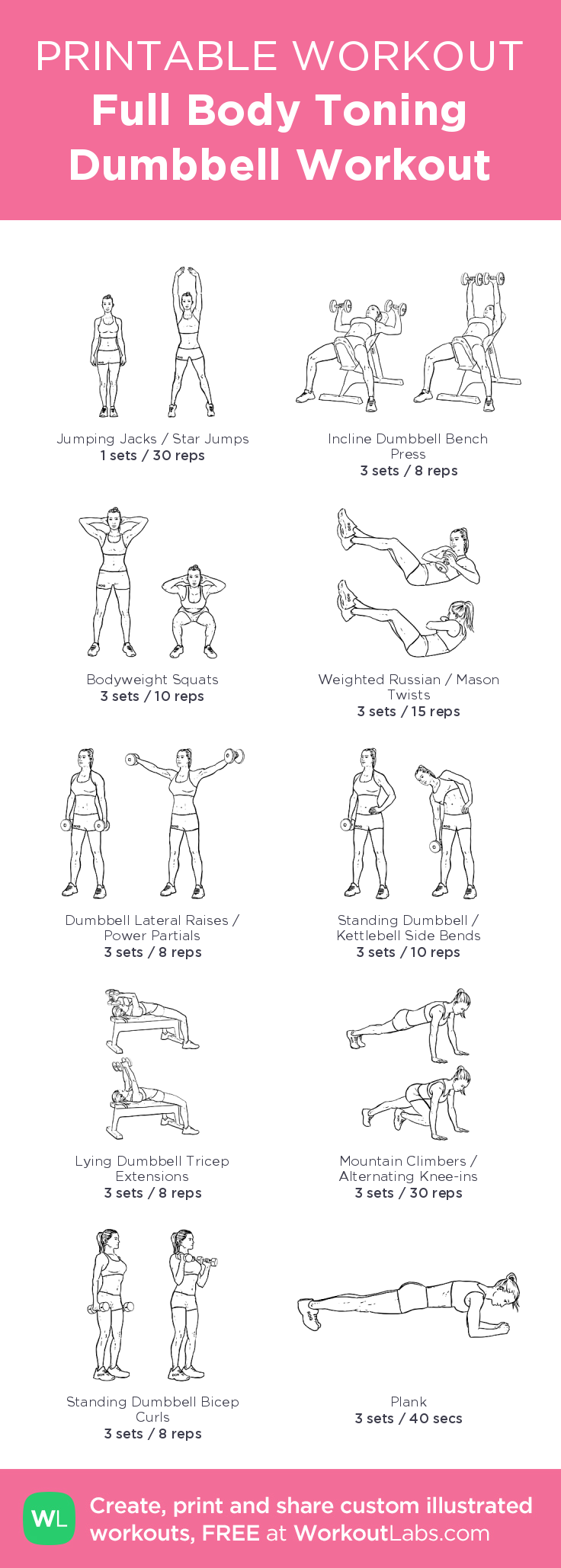 Full Body Toning Dumbbell Workout Illustrated Exercise Plan Created At WorkoutLabs O Click For A Printable PDF And To Build Your Own Customworkout