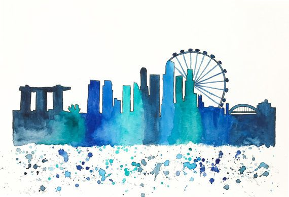 Singapore Skyline Watercolor Painting Travel By Nikspaintgallery Singapore Art Skyline Art Skyline Artwork