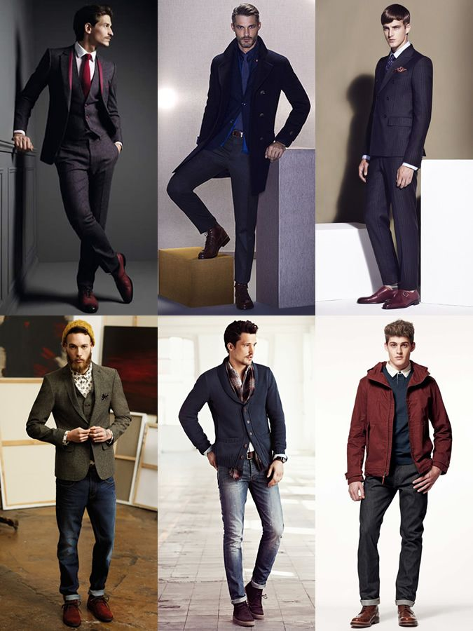 Outfit with Burgundy Shoes Men  7009420010