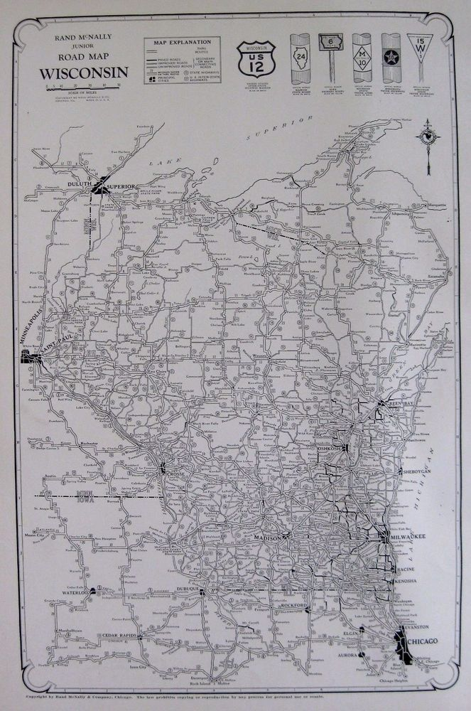 Antique WISCONSIN Map Of Wisconsin Road Map RARE Poster SIZE - Us road map poster