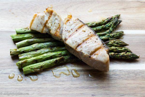 Grilled Opah And Asparagus With Lemon Sauce Recipe Paleo Recipes Grilled Fish Recipes Grilled Opah Recipe Grilled Asparagus