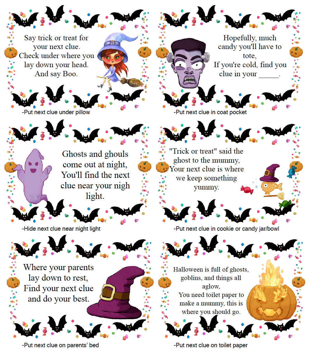 Free Printable Halloween Treasure Hunt for Kids Treasure