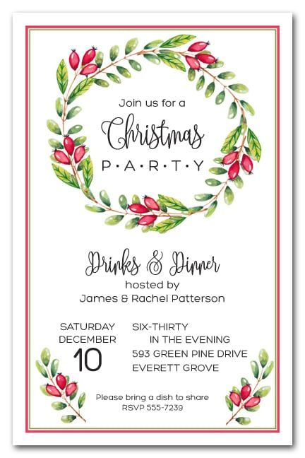 Red Berries Vine Wreath Open house invitation, Red berries and