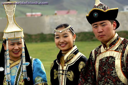 Mongolia Culture   ... Women And A Man In Traditional Mongolian Dress, Ulaanbaatar, Mongolia