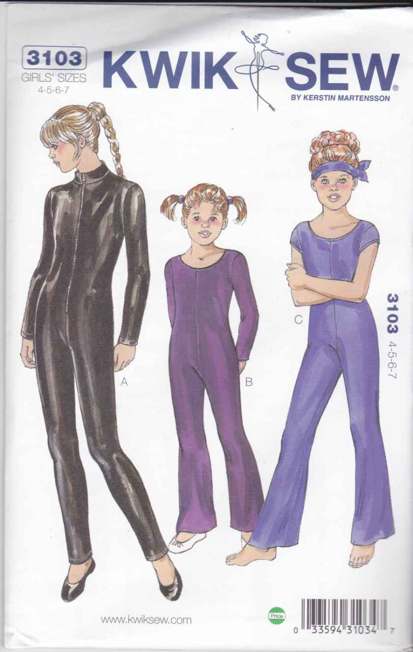 Kwik Sew Sewing Pattern 3104 Girls Size 8-14 Unitard Long Leg Sleeve ...