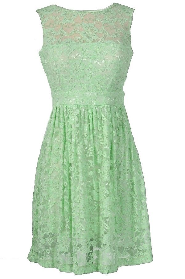 7dcc7131b6f Sleeveless A-Line Lace Overlay Dress in Pale Green   Pistachio   Mint