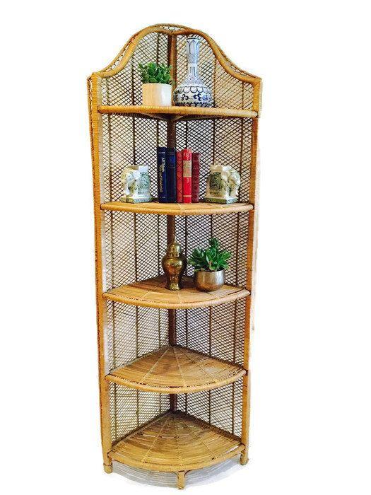 Vintage Rattan Bookcase Corner Shelf Unit Curio Bamboo Bohemian Etagere Plant Stand Beach House Decor Meets Modern Zen Corner Bookcase Corner Furniture Corner Shelf Unit Tall Corner Shelf