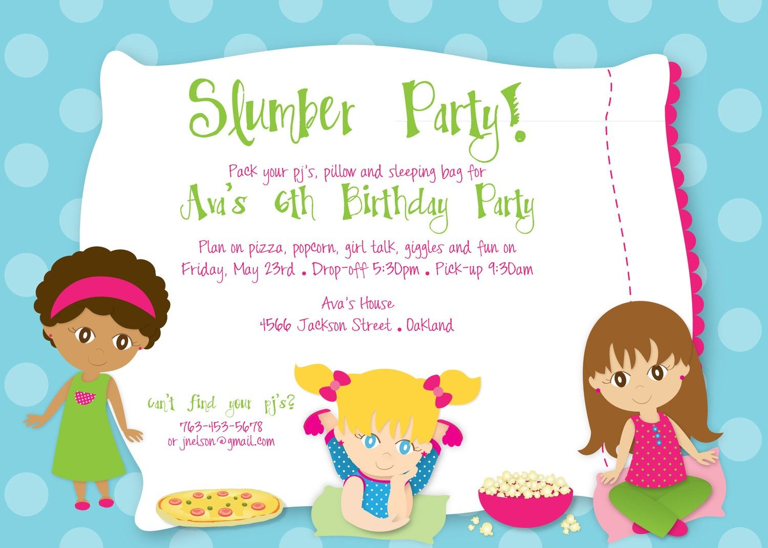 Slumber Party Invitation Lindsey Pinterest – Birthday Party Invitation Template Word