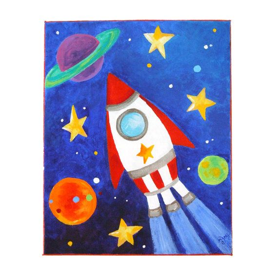 Perfect Art For A E Themed Nursery Or Boys Room This Rocket Is Blasting Through With Silver Accents And Edges Painted Red To Give Framed