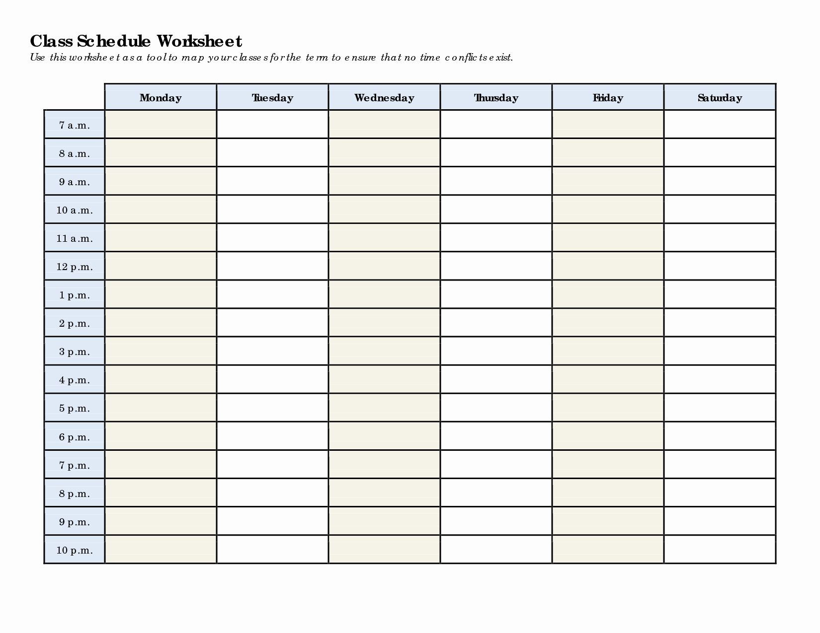 College Course Planning Template Inspirational Schedule
