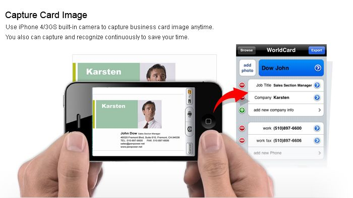 worldcard mobile iphone version allows your business card