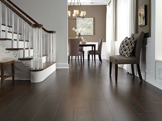 Dark laminate flooring wrapped around this staircase also in
