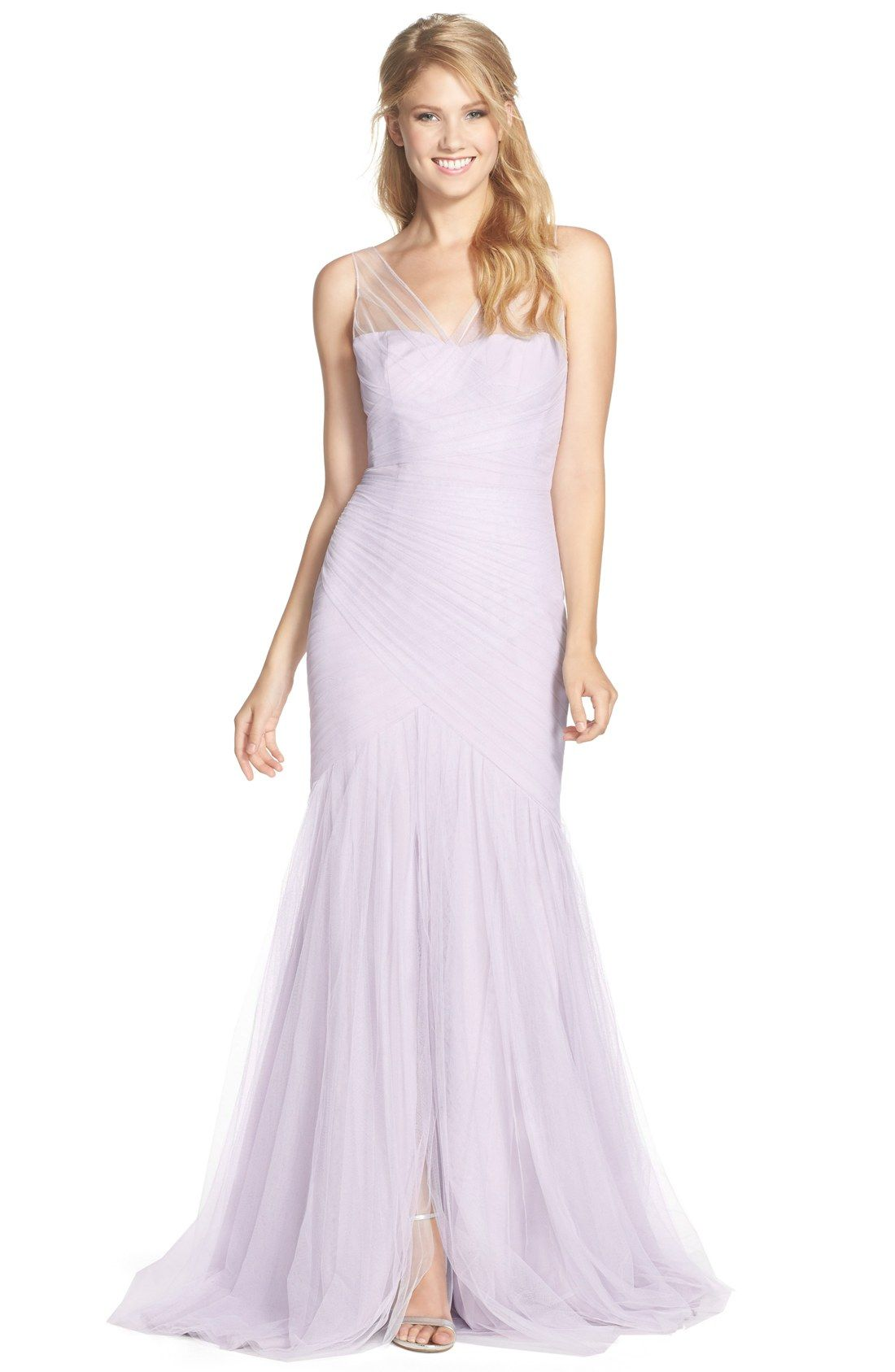 Monique Lhuillier Bridesmaids Illusion Yoke Pleat Tulle Trumpet Gown ...