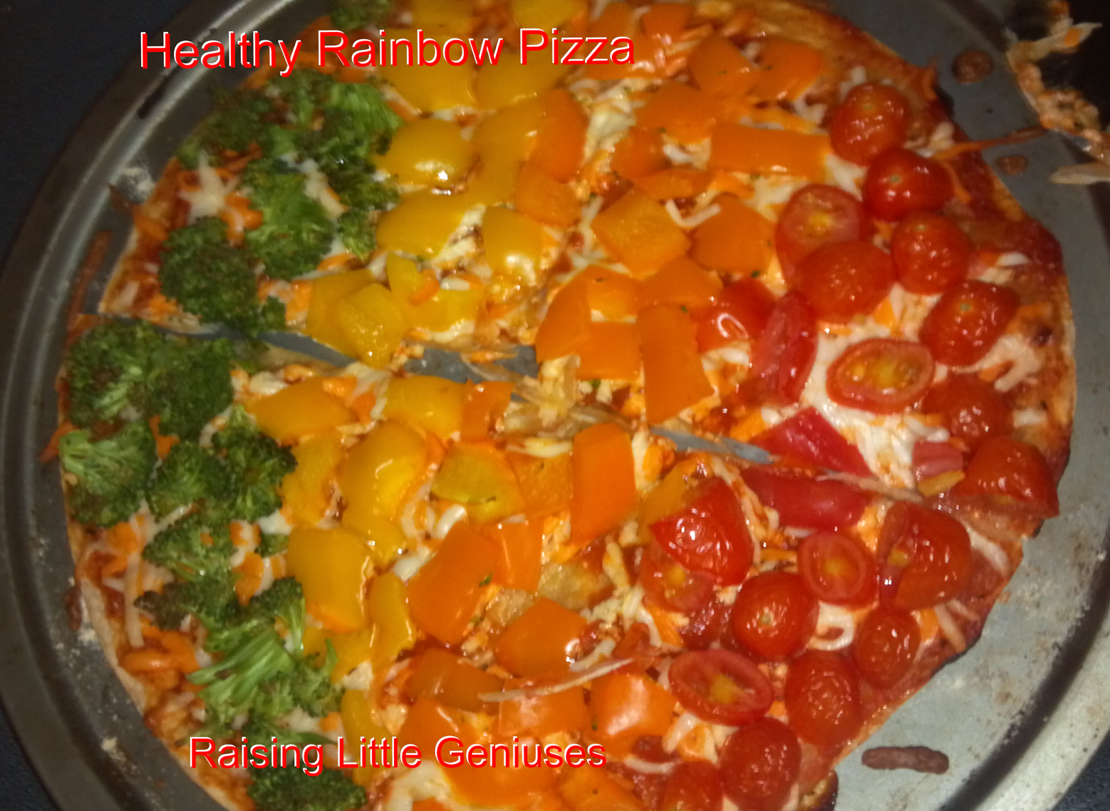 Healthy Rainbow Pizza that kids can help make
