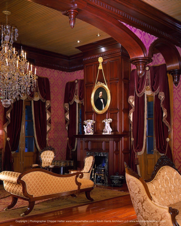 Old Room At Dusk: Living Room At Dusk In Custom-designed Southern Mansion
