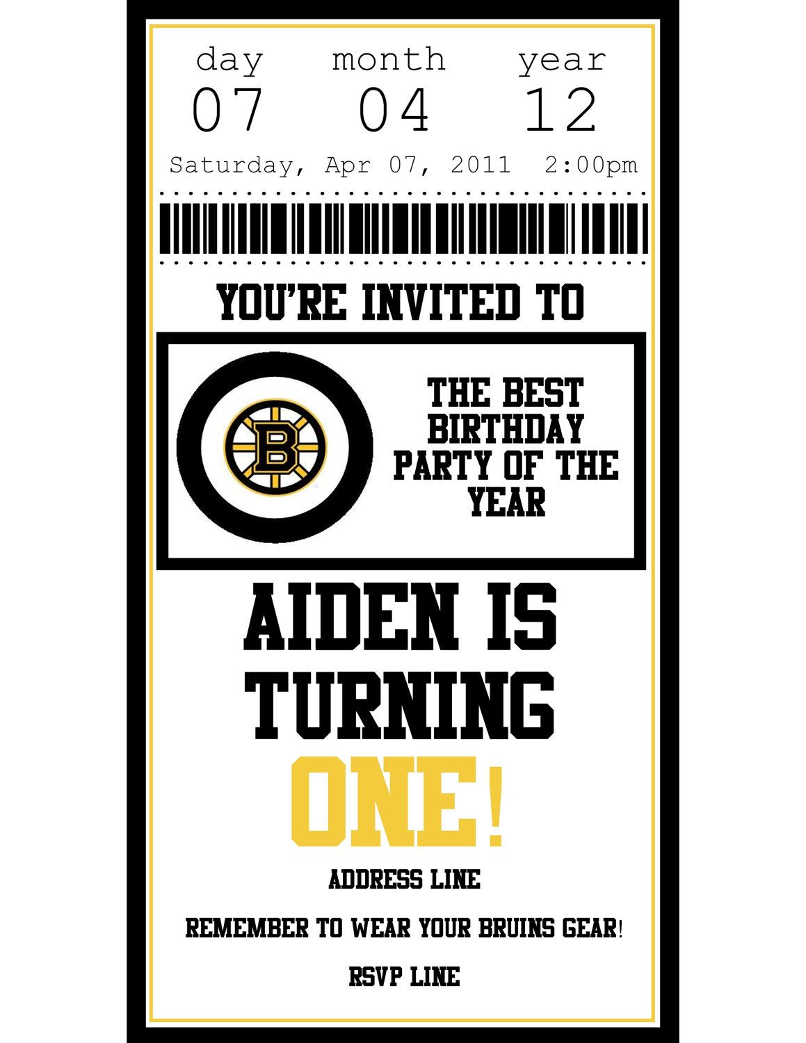 Personalized Printable Boston Bruins Hockey Ticket Birthday