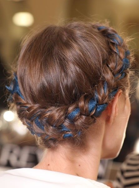 Blue Ribbon Braids Also Weave A Blue Ribbon In With The Corset In The Back Of The Dress Fave Something Ribbon Hairstyle Hair Styles Braided Hairstyles