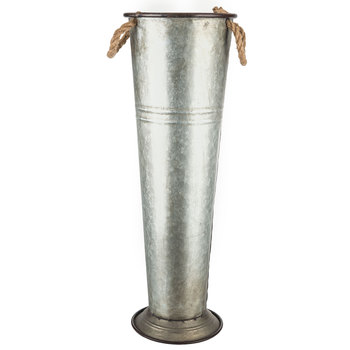 Tall Metal Vase With Rope Handles In 2020 Metal Vase Tall Vase