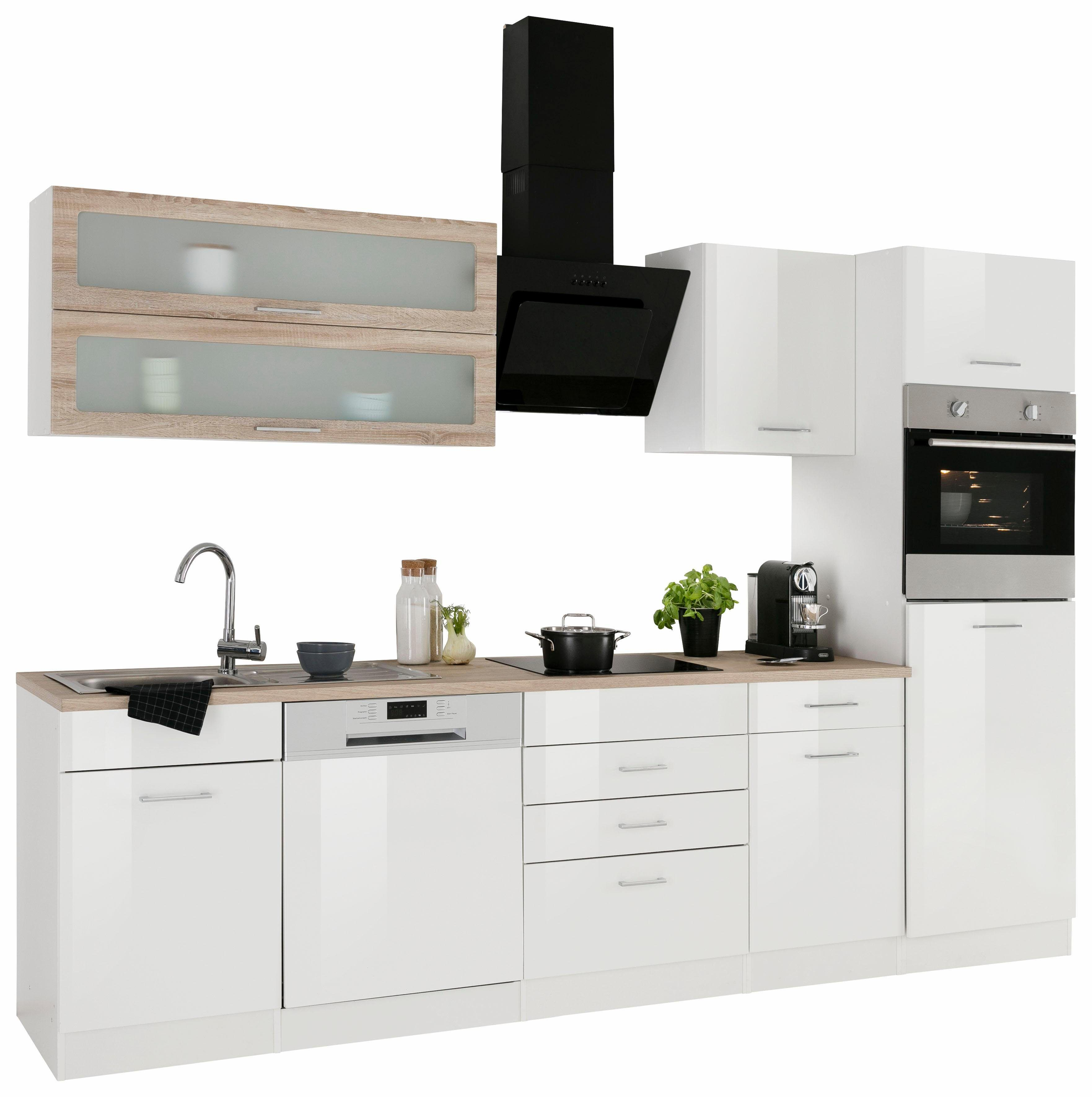 Küchenzeile mit E-Geräten weiß, mit Aufbauservice, »Utah«, Held ...