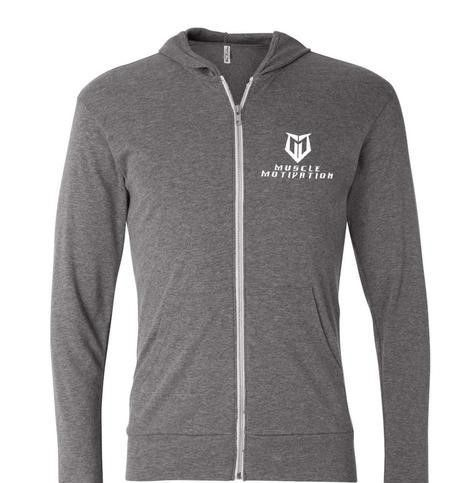 Muscle Motivation Tri-blend Full-Zip Lightweight Hoodie - Grey