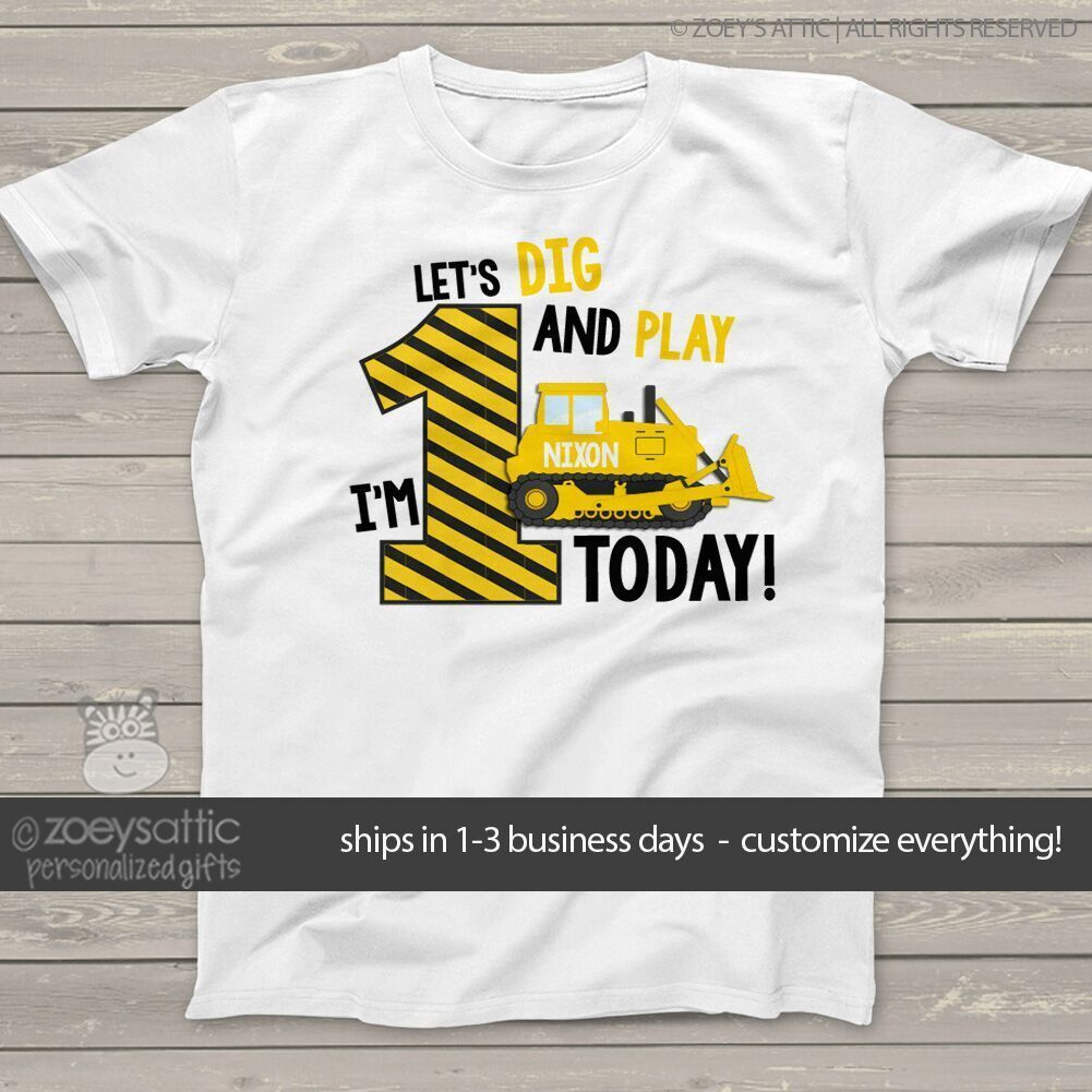 Birthday Boy Best Gift Idea Yellow Tractor Bulldozer Long sleeve kids T-Shirt