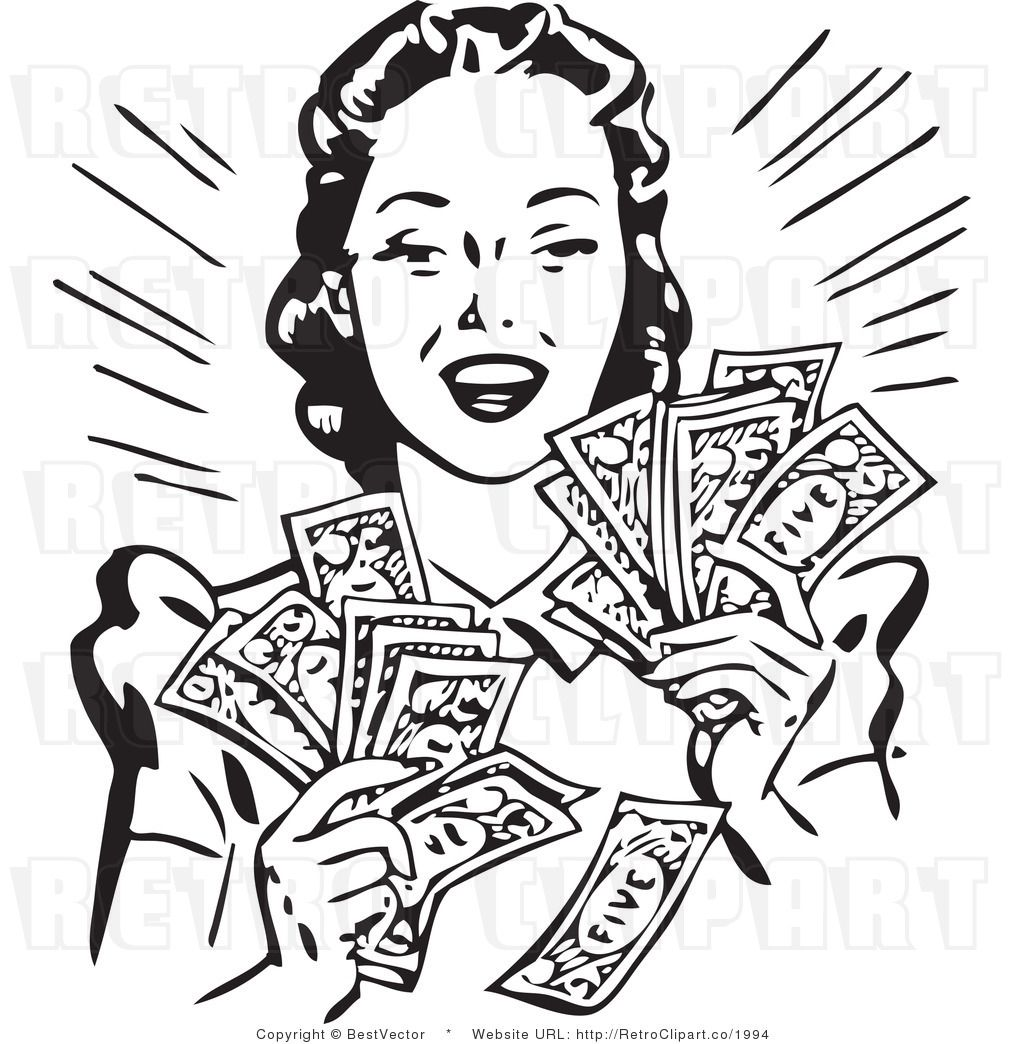 Royalty Free Vector Clip Art Of A Black And White Retro Woman Holding Handfuls Of Cash Money By Bestvector 1994 Clip Art Retro Women Vector Free